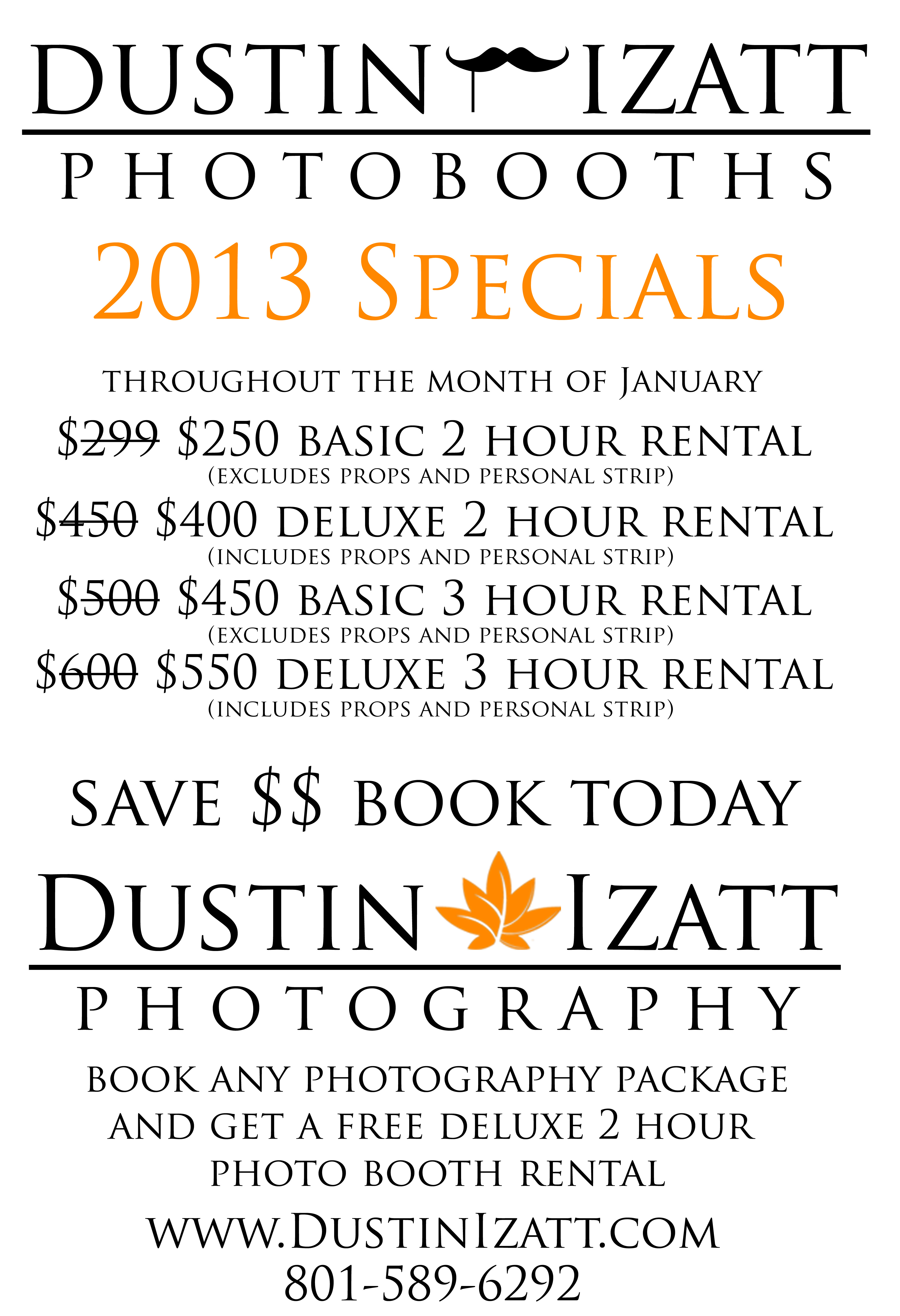 Utah Photo Booth Specials Coupon Low Price Deal by Dustin Izatt Photo Booths