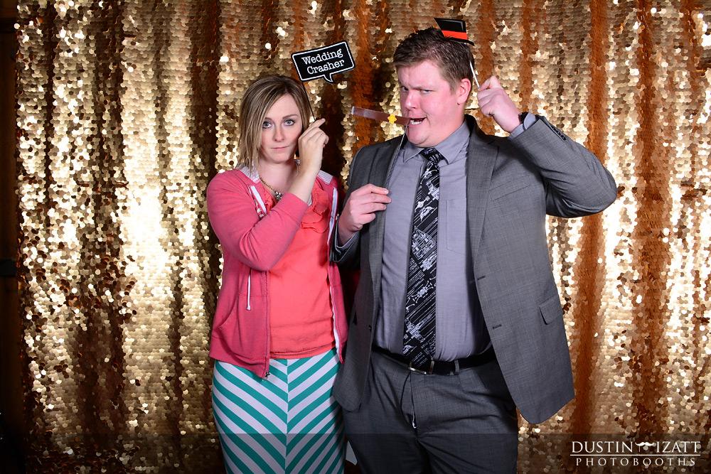 Utah Wedding Photo Booth Rental Gold Backdrop Props